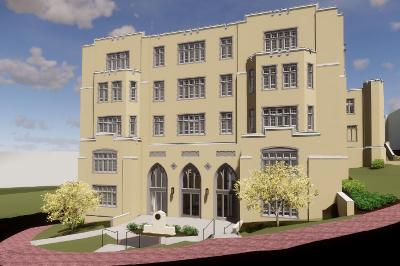 An architect's rendering shows the new entrance to Scott Shipp Hall.
